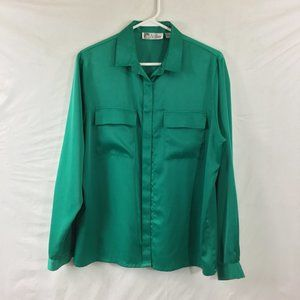 Women's silky green blouse